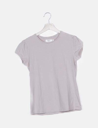 Camiseta beige manga corta