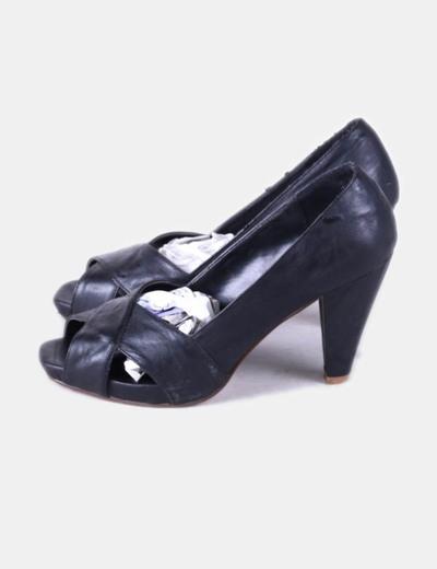 Zapato de tacón negro peep toe TCK