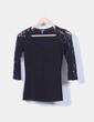 Camiseta negra con encaje  Bershka