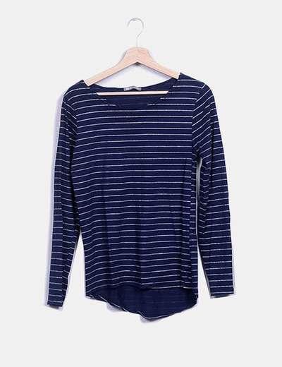 Camiseta azul raya glitter