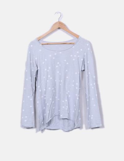 Camiseta gris print estrellas