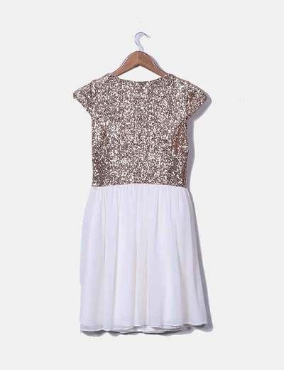 Vestido Doradas Lentejuelas Combinado Vestido Combinado EH9D2I