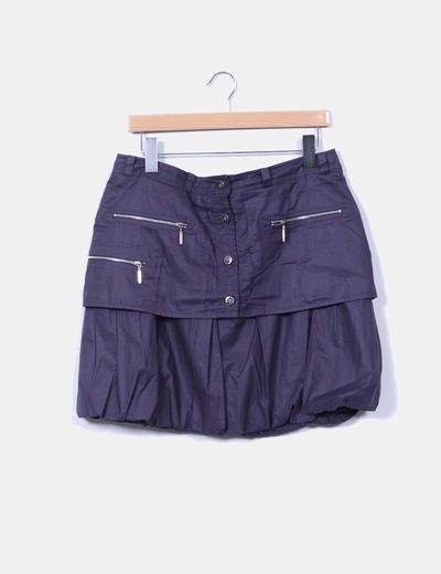 Mini falda gris oscura con botones Javier Simorra