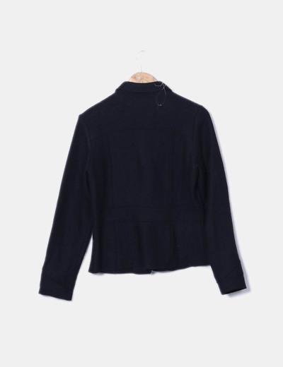 Abrigo de pano negro con bolsillos