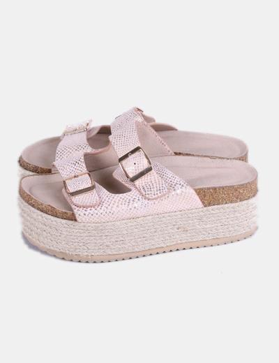 zapatos deportivos 5dbc3 1b222 Sandalias plataforma esparto rosas