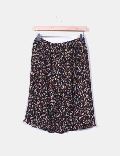 Jupe plissée imprimé floral Zara