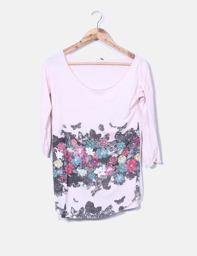 Camiseta rosa estampado floral Stradivarius