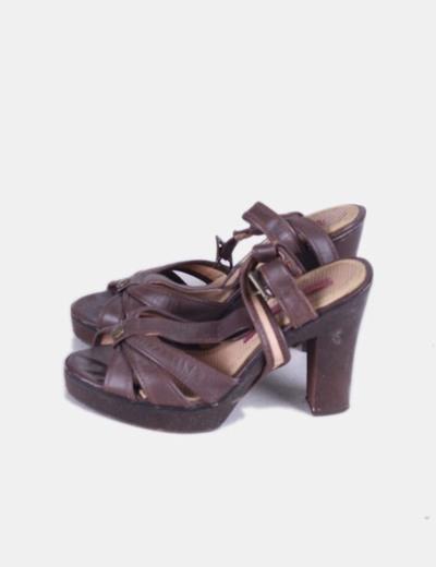 Sandalia marrón de tacón Pepe Jeans