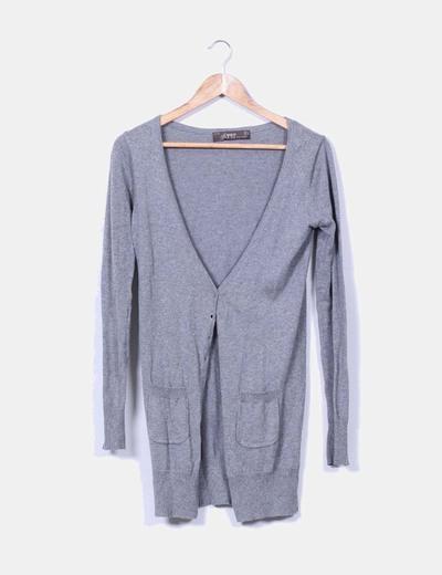 Cárdigan largo gris Zara
