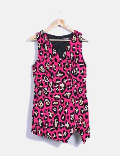 Vestido rosa fucsia print animal Fashion Union