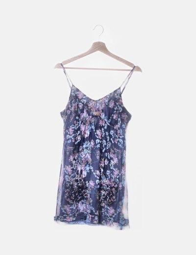 Vestido gasa floral azul