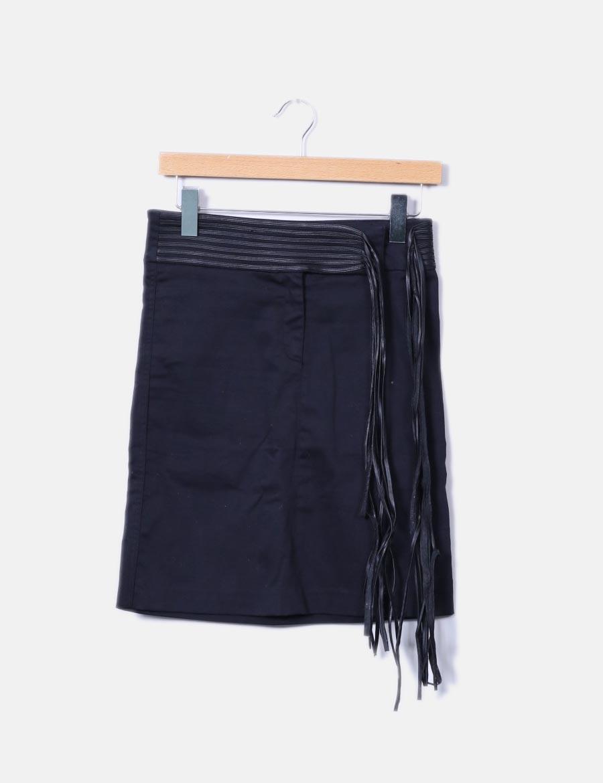 f1789695d Pepe Jeans baratas Falda negra flecos con combinada midi online ...
