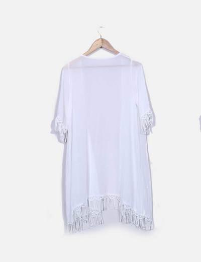 Kimono gasa blanca con flecos