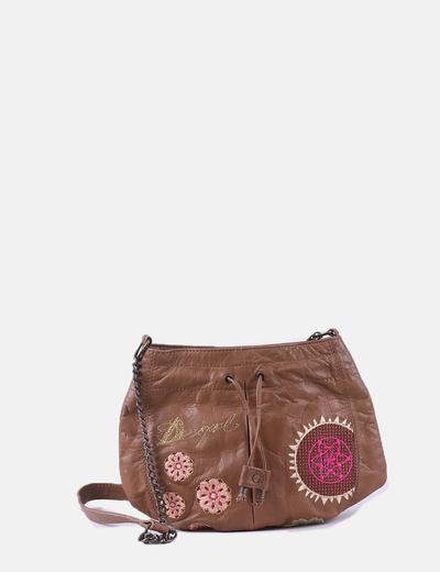 Bolso marrón bordado floral Desigual