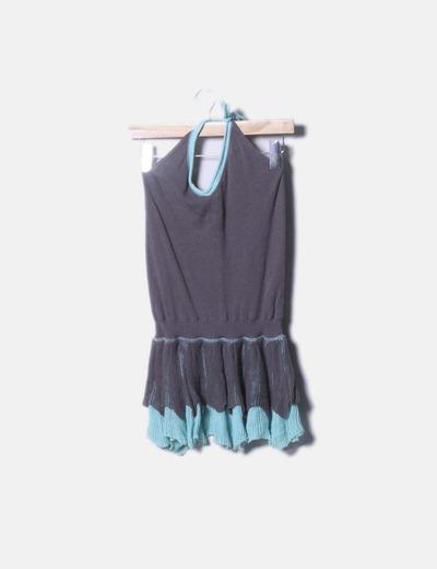 Vestido tricot bicolor