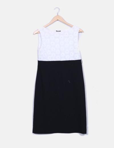 Vestido de midi combinado em crochet branco Zendra