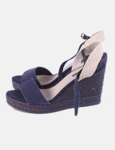 Sandalia de esparto azul marina Oysho
