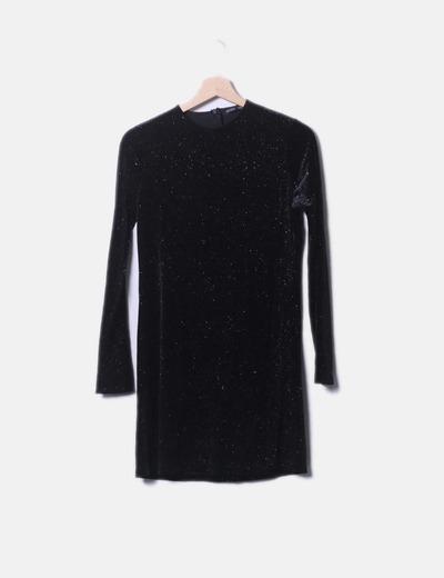 Robe noire en velours paillettes Zara