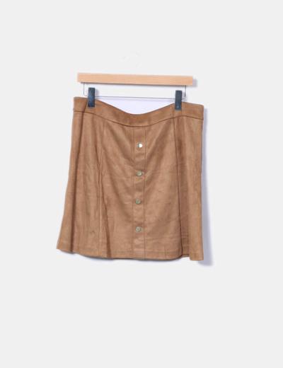 Minifalda de antelina camel