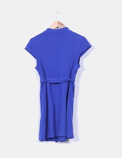 Vestido azul klein de manga corta