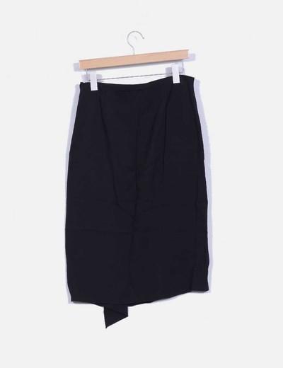 Falda midi negra basica