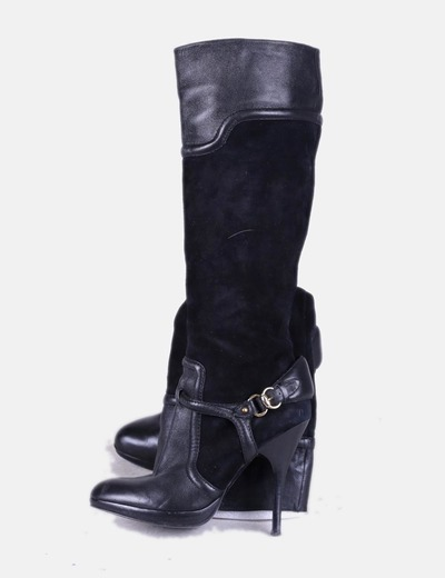 Bota alta tacón negra combinada