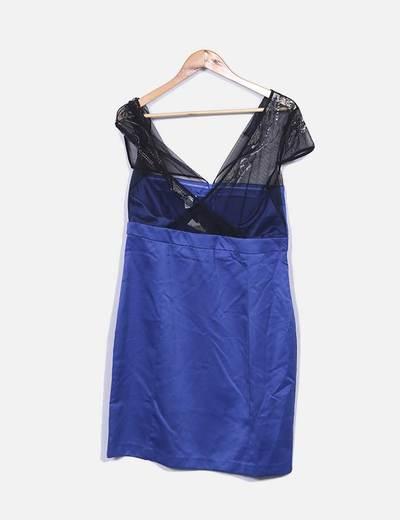 Vestido azul klein com malha preta Suiteblanco