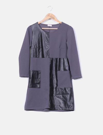 Vestido combinado detalles polipiel IRIS