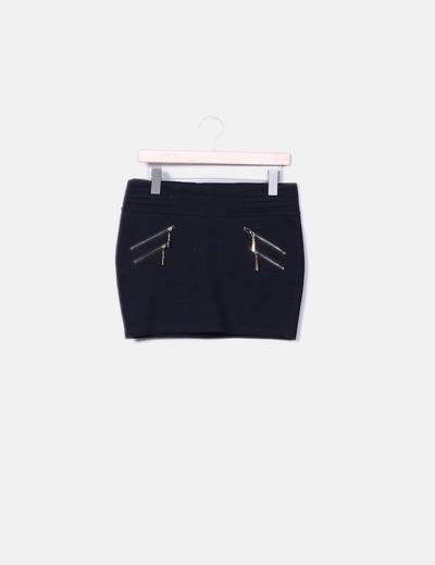 Minifalda negra con cremalleras Miss vip
