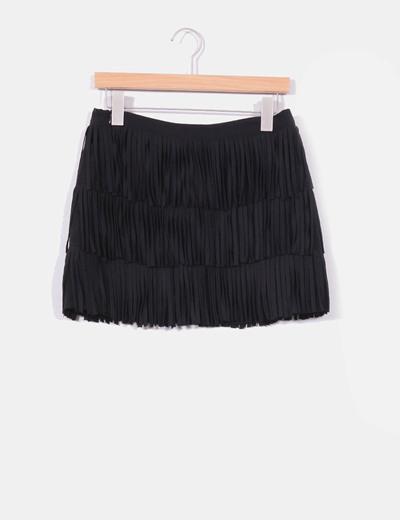 cfa69a14a Falda negra con flecos