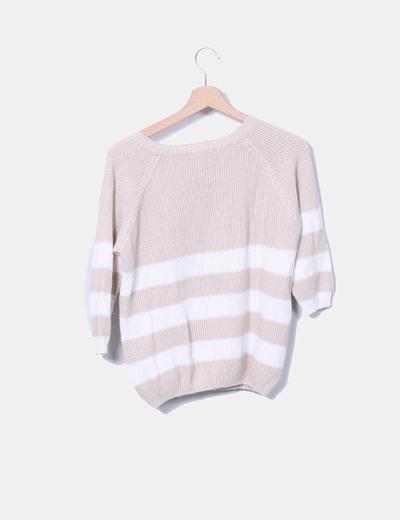 Jersey tricot de rayas bicolor