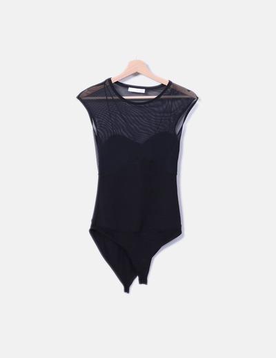 Body negro con transparencias Bershka
