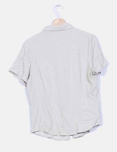 Camisa beige manga corta