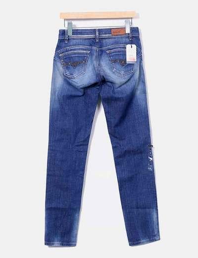 Jeans denim combinado pitillo