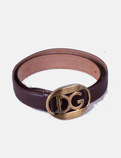 Cinturón burdeos con hebilla dorada Dolce&Gabbana