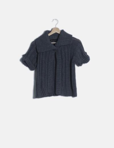 Chaqueta tricot gris manga corta