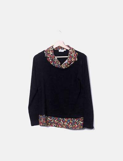 Floral combined black tricot jersey Bohemios