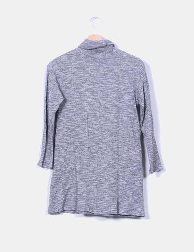 Vestido gris jaspeado cuello vuelto