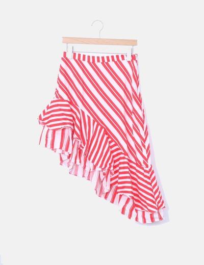 Falda midi asimétrica rayas rojas