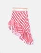 Falda midi asimétrica rayas rojas Zara