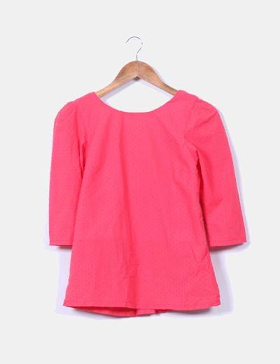 Blusa coral texturizada con lazo NoName