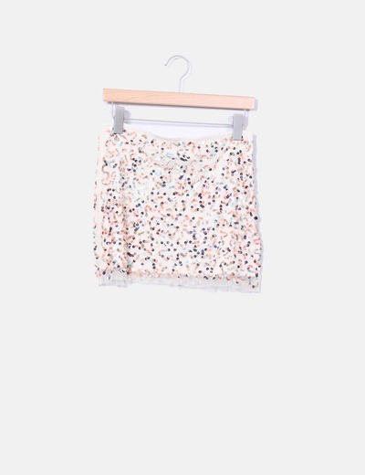 Mini falda paillettes multicolor  Pull&Bear
