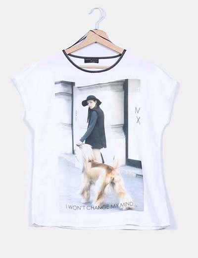 Blusa combinada print ribete polipiel Zara