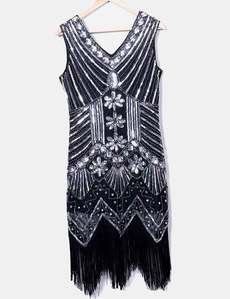 7a8cd69d933 Vestido tirantes negro con paillettes y flecos Zeagoo · ZEAGOO. TALLA XL ...