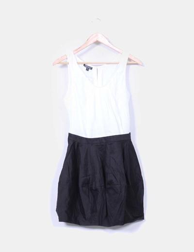 Vestido combinado blanco y negro Topshop