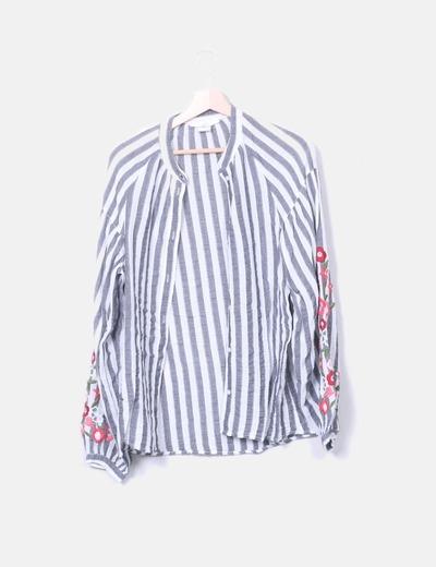 Chemise grise et blanche rayée H&M