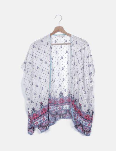 Kimono blanco estampado