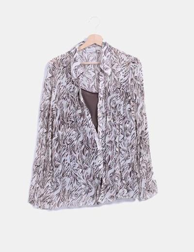 Blusa bicolor con estampado Canda
