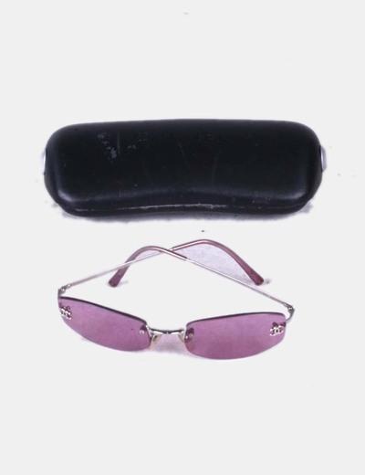 0a6fdc67e3dbe1 Chanel Lunettes de soleil violettes cerclées (réduction 84%) - Micolet
