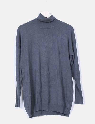 Jersey tricot negro cuello vuelto Tezenis